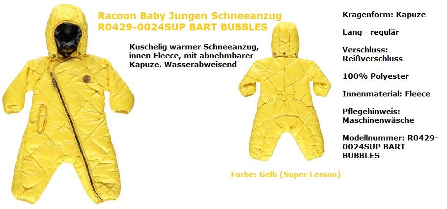 Racoon Schneeanzug Jungen gelb