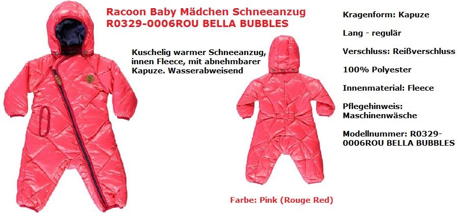 Racoon Schneeanzug Mädchen Pink