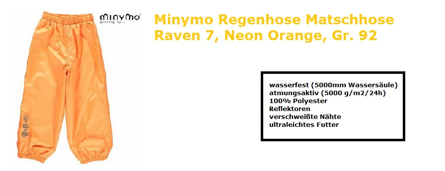 Regenhose MAtschhose Kinder NEon Orange